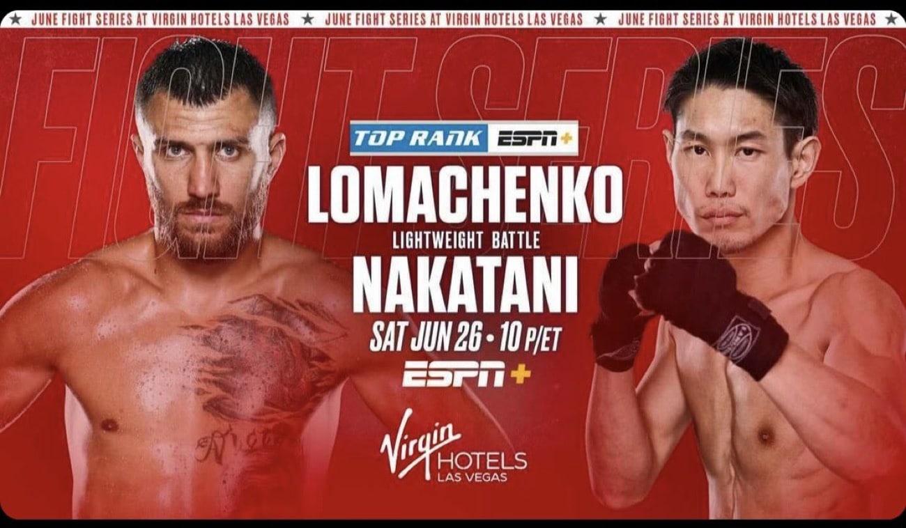 Lomachenko vs. Nakatani - ESPN, FITE TV, Sky Sports - June 26 - 10 PM ET