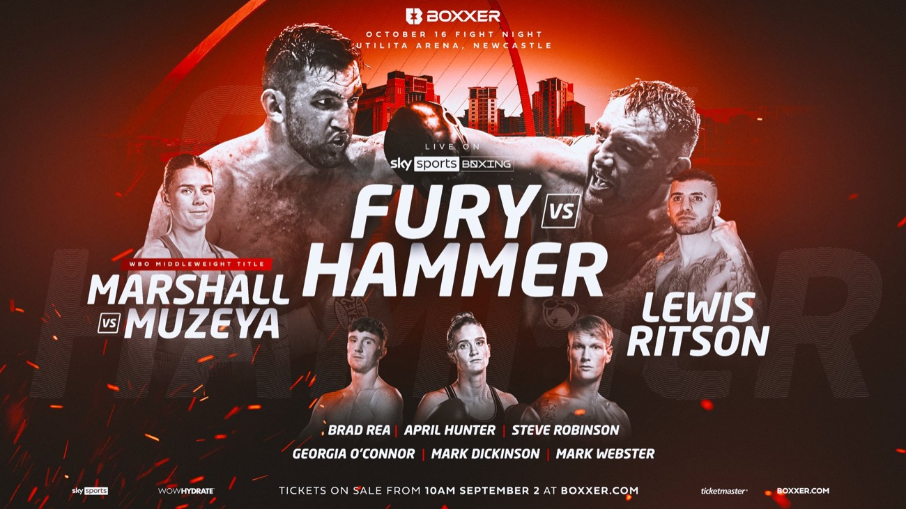 Fury vs Hammer - Sky Sports - October 16 - 2 pm ET