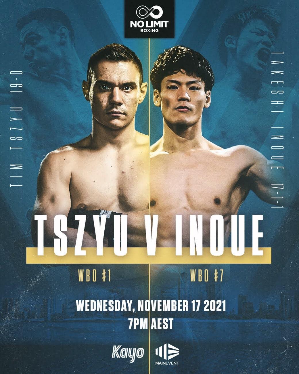 Tim Tszyu vs Takeshi Inoue - Nov. 17 - 5 am ET