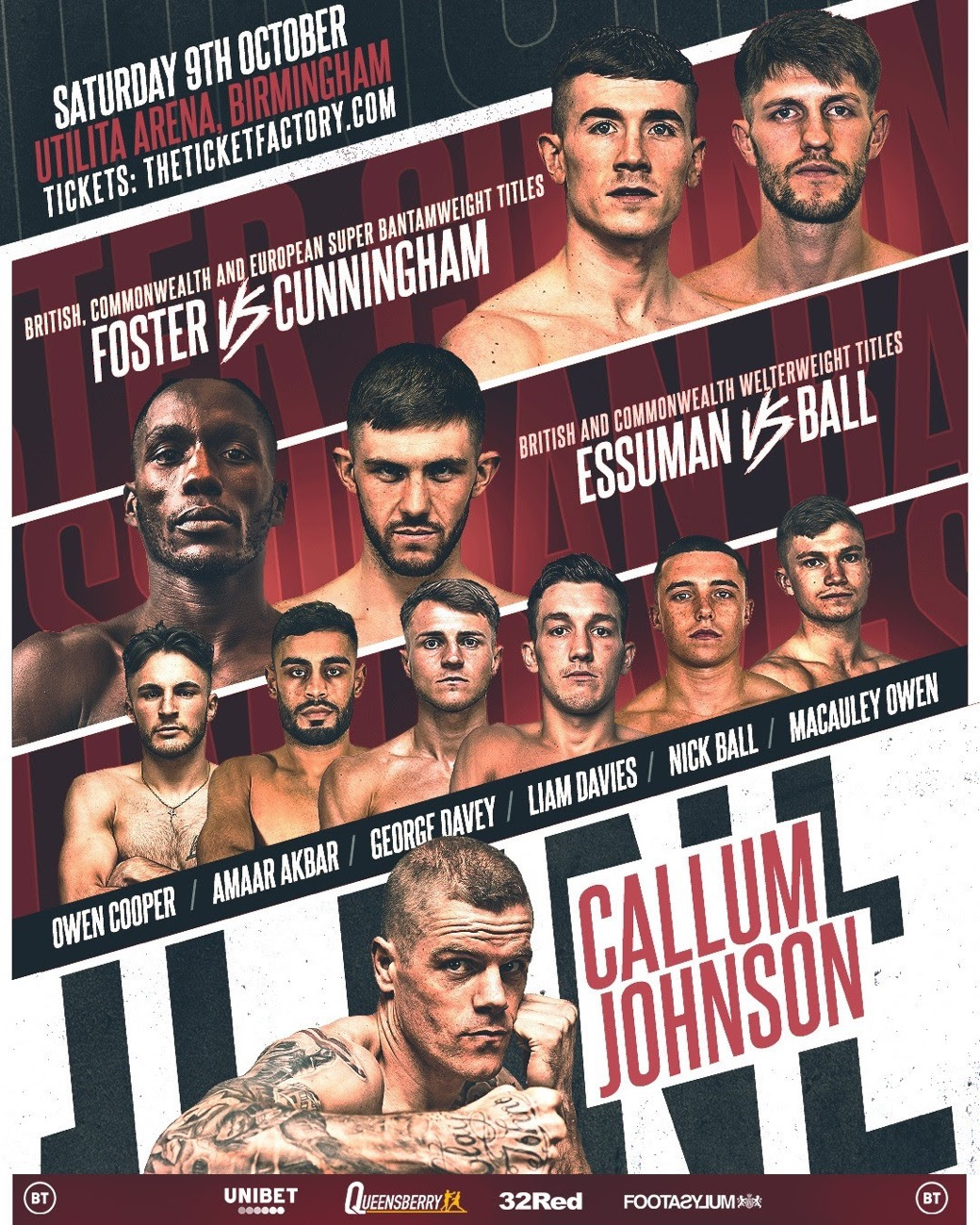 Foster vs Cunningham - BT Sport - October 9 - 2 pm ET
